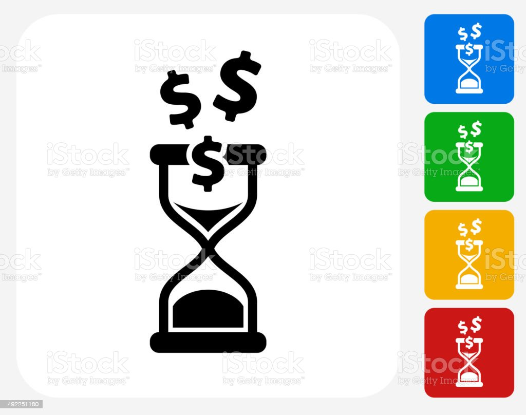 Time is Money Icon Flat Graphic Design vector art illustration