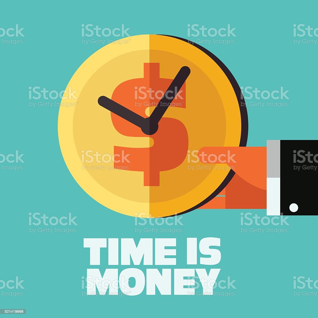 Time is money illustration. Money saving concept vector art illustration