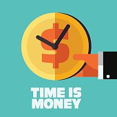 Time is money illustration. Money saving concept