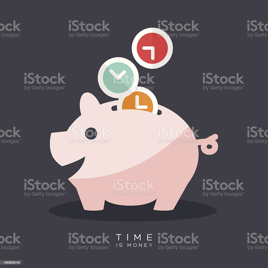 Time is Money Piggy Bank vector art illustration