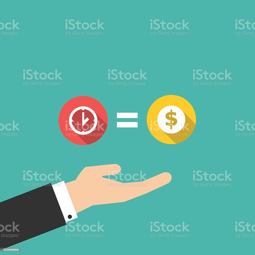 time is money with hand in flat design vector art illustration