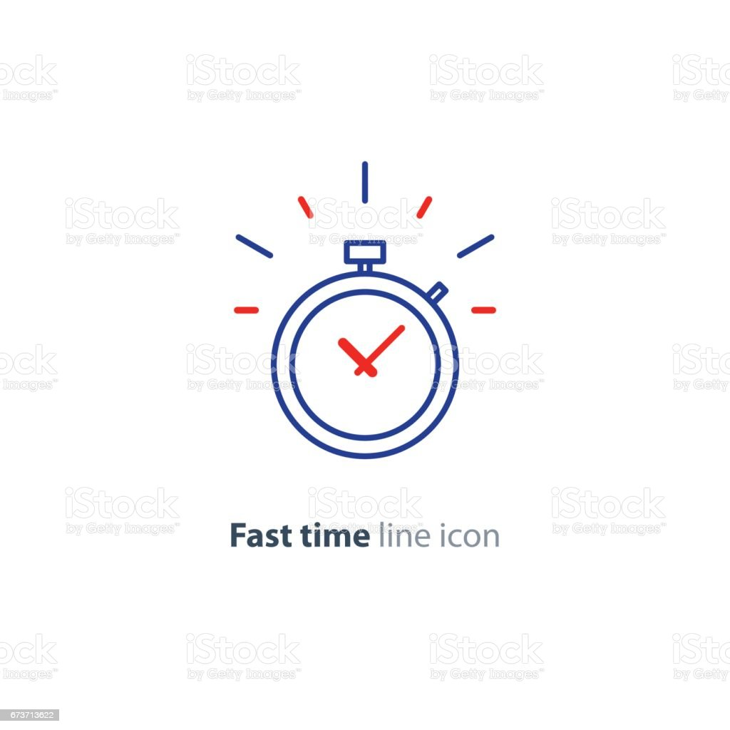 Time limit concept, fast delivery services linear icon, ringing timer vector art illustration