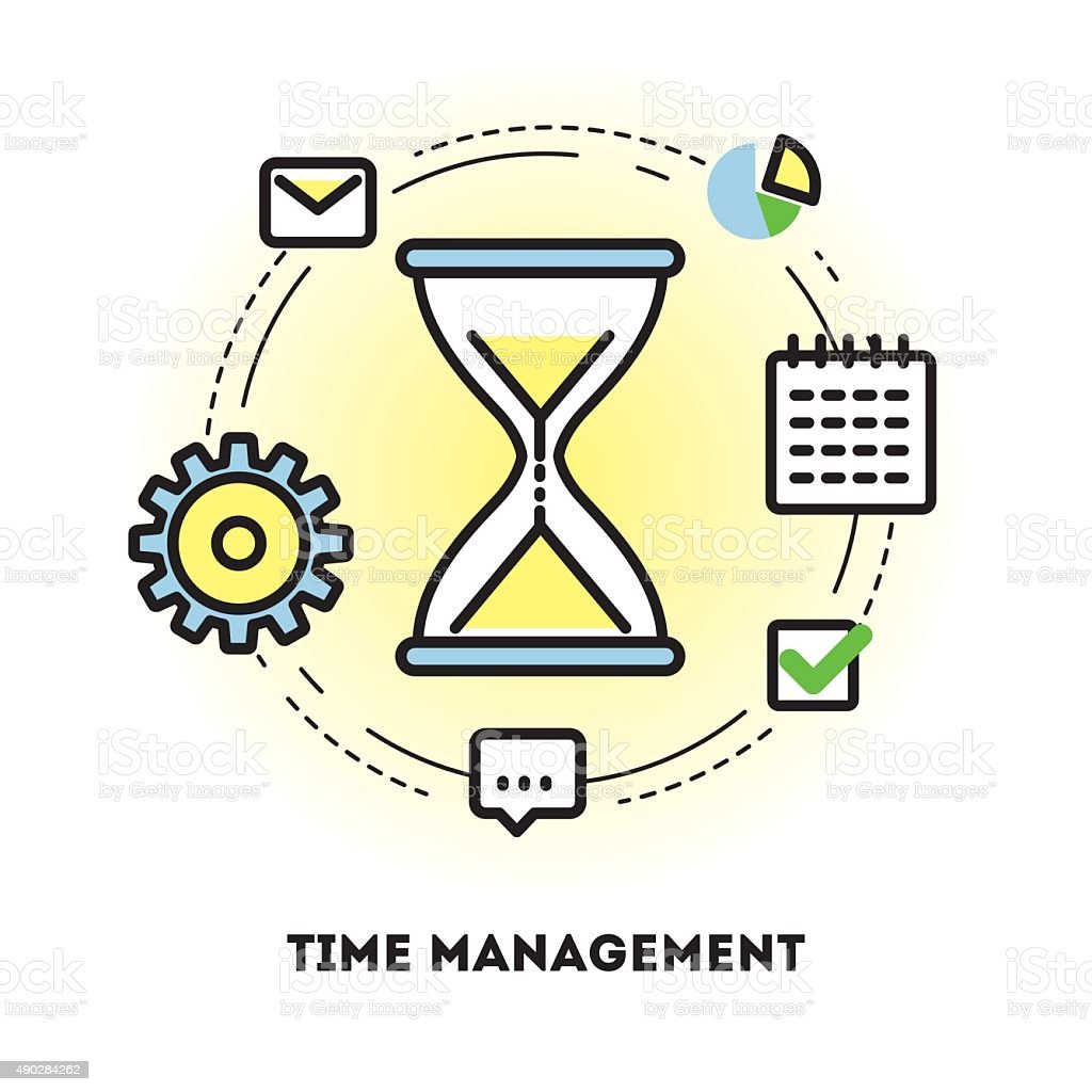 Time Management: Time Management And Business Planning Graphic Outline Icon