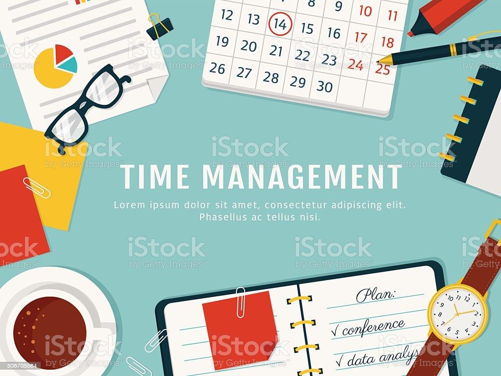 Time management banner. Vector concept background. vector art illustration