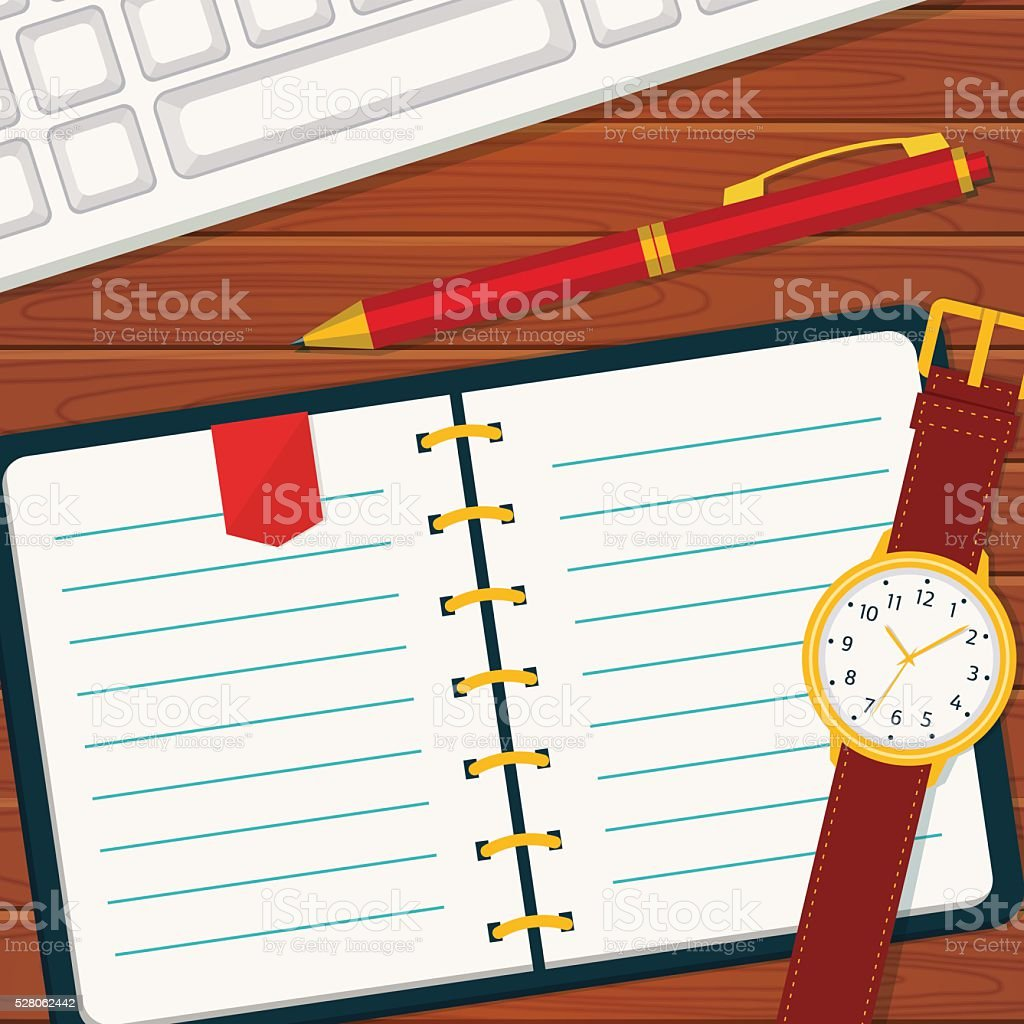Time management banner with notebook. vector art illustration