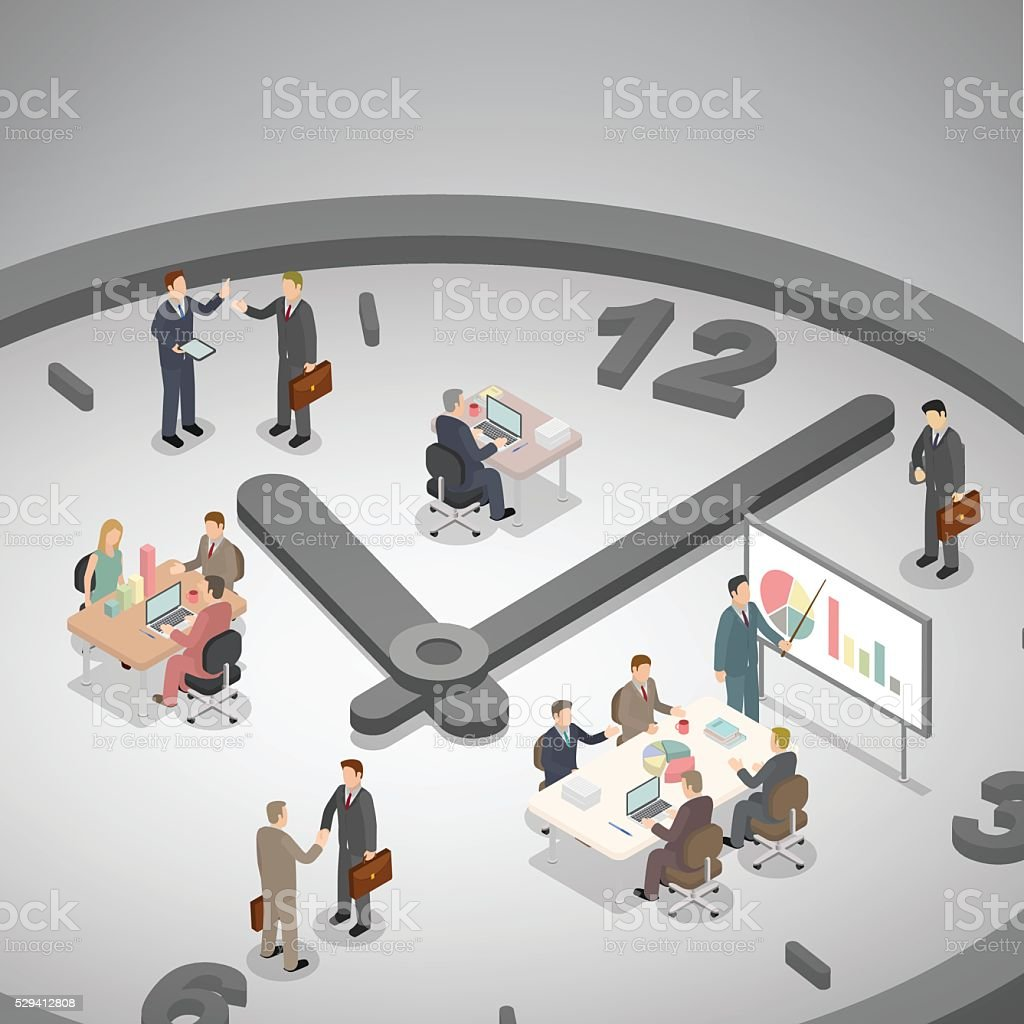 Time management business concept. vector art illustration