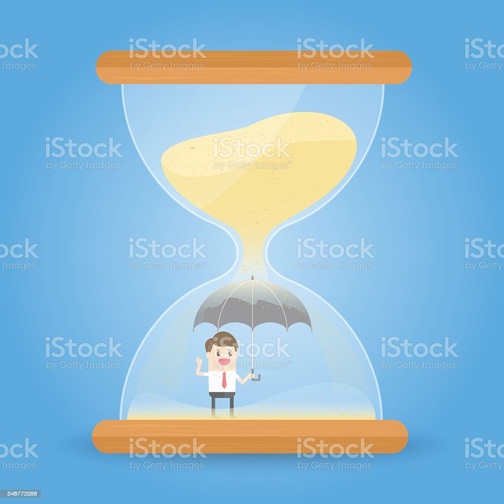 time management. businessman holding umbrella in the hourglass vector art illustration