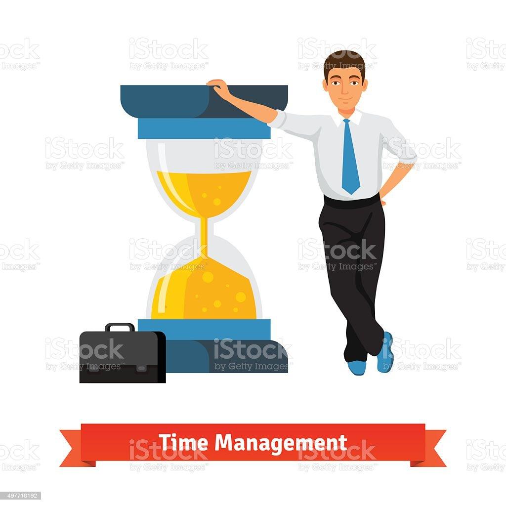 Time management concept. Businessman vector art illustration
