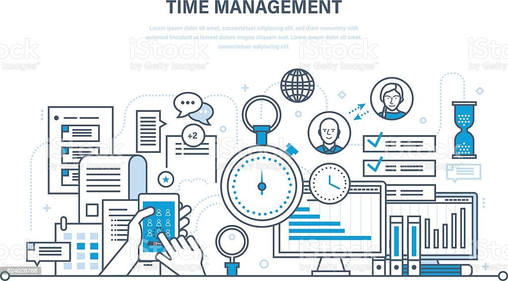 Time management, planning, organization of working , work process control. vector art illustration