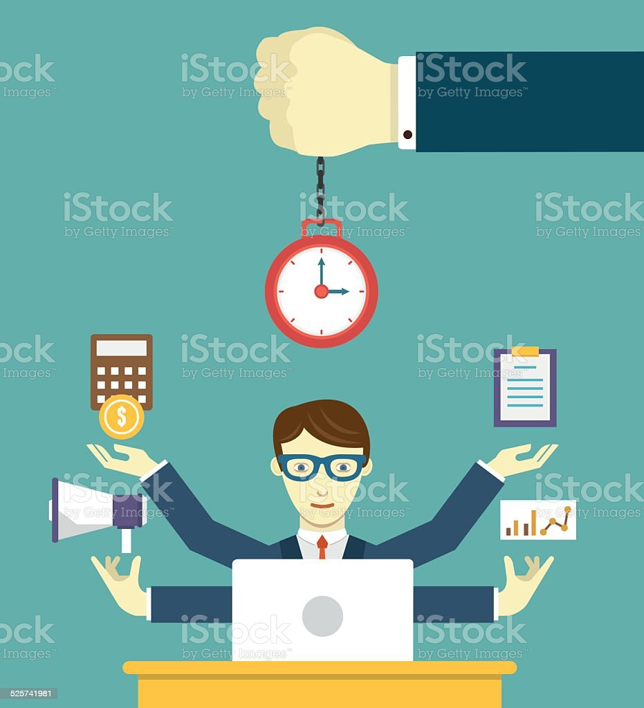 Time management - pledge of success. Business planning and results vector art illustration
