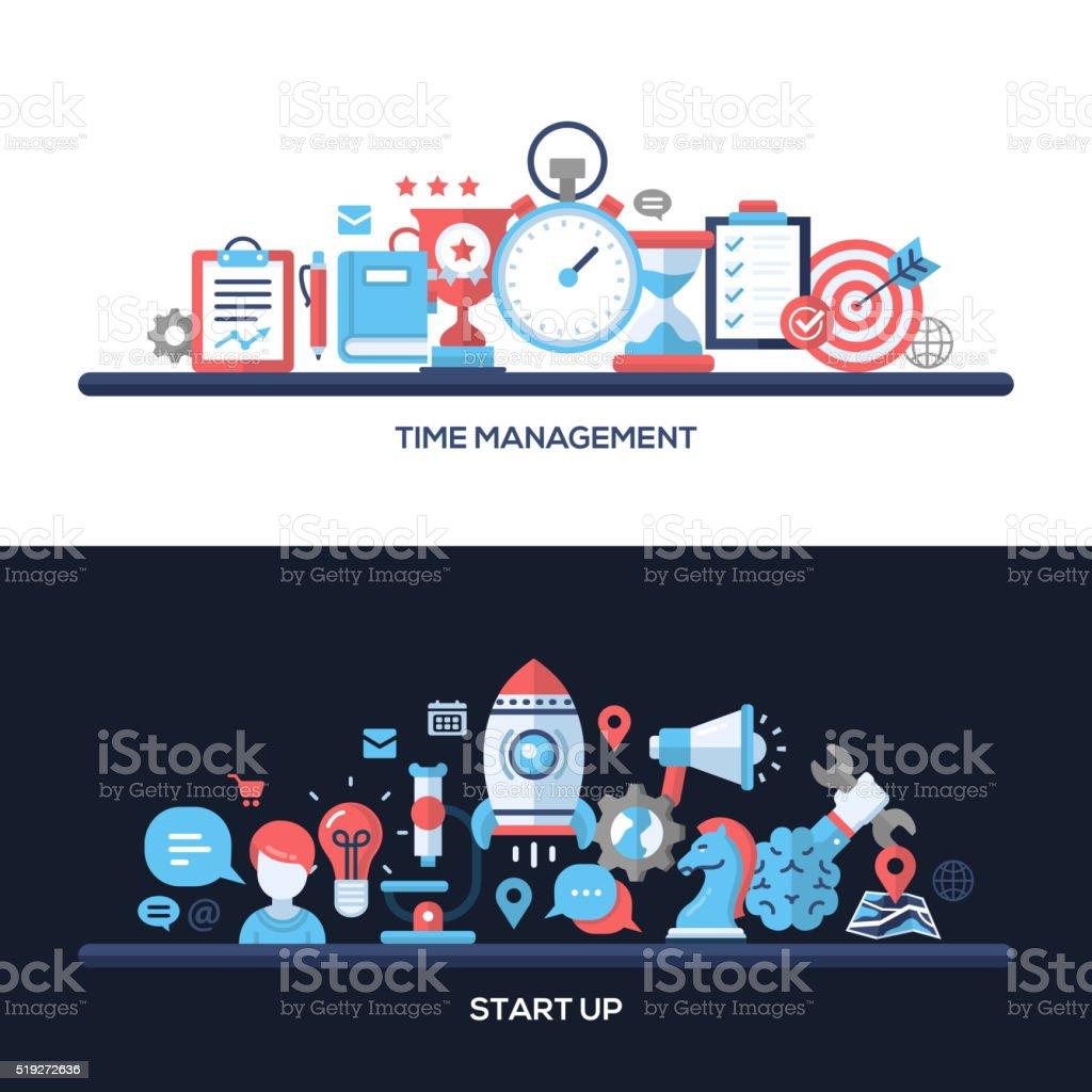 Time Management, Start Up Flat Design Concept Banners, Headers Set vector art illustration
