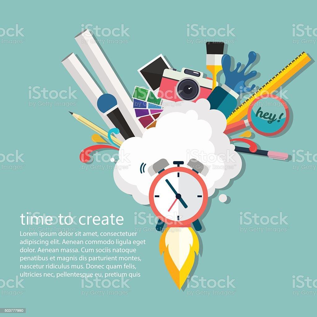 Time of creative ideas. Big idea, startup, innovation concept, vector. vector art illustration