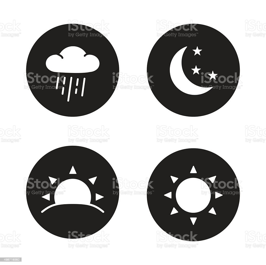 Time of day black silhouette icons vector art illustration