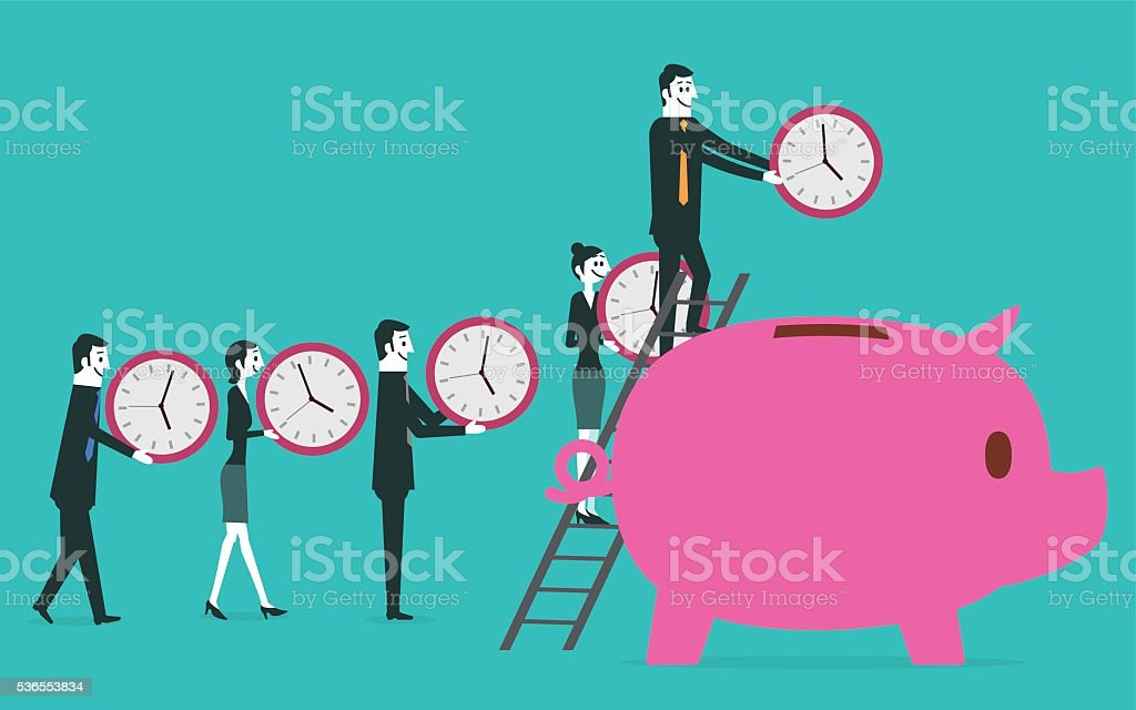 Time saving into piggy bank vector art illustration