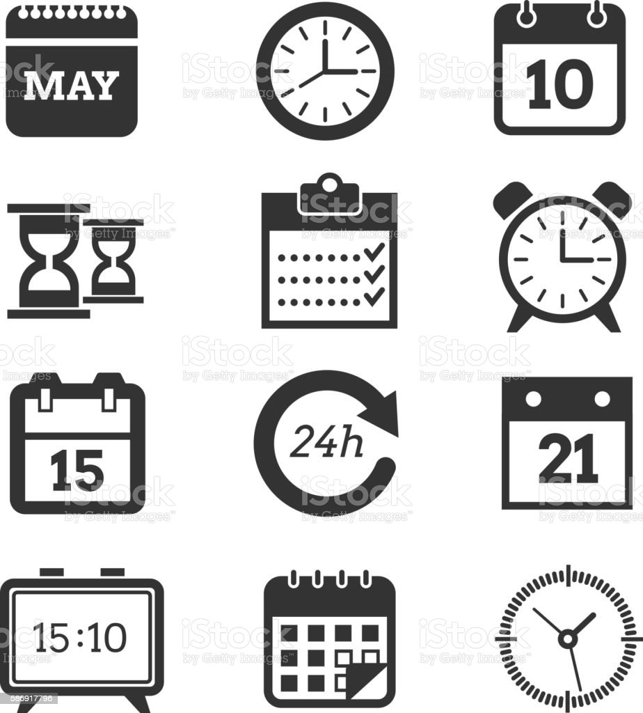 Time, schedule vector icons set vector art illustration
