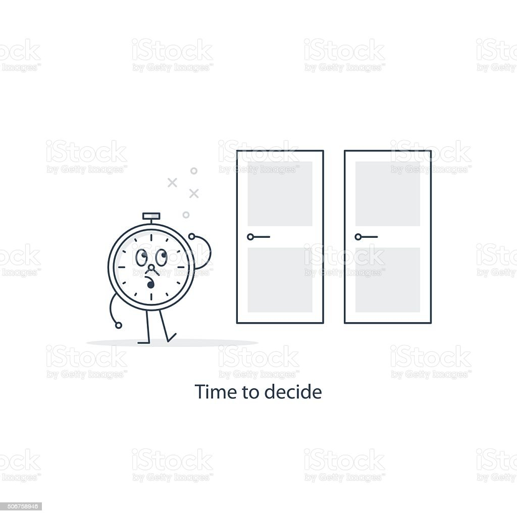 Time to decide vector art illustration
