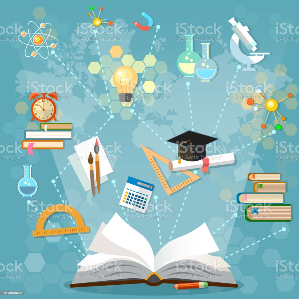 Time to education open book back to school vector art illustration