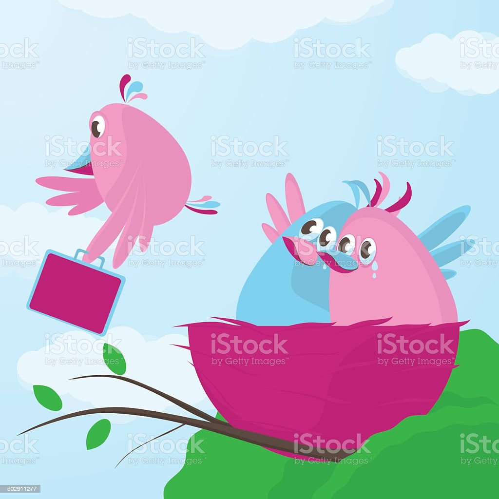 Time to leave the nest vector art illustration