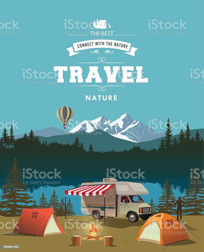 Time to travel vector art illustration