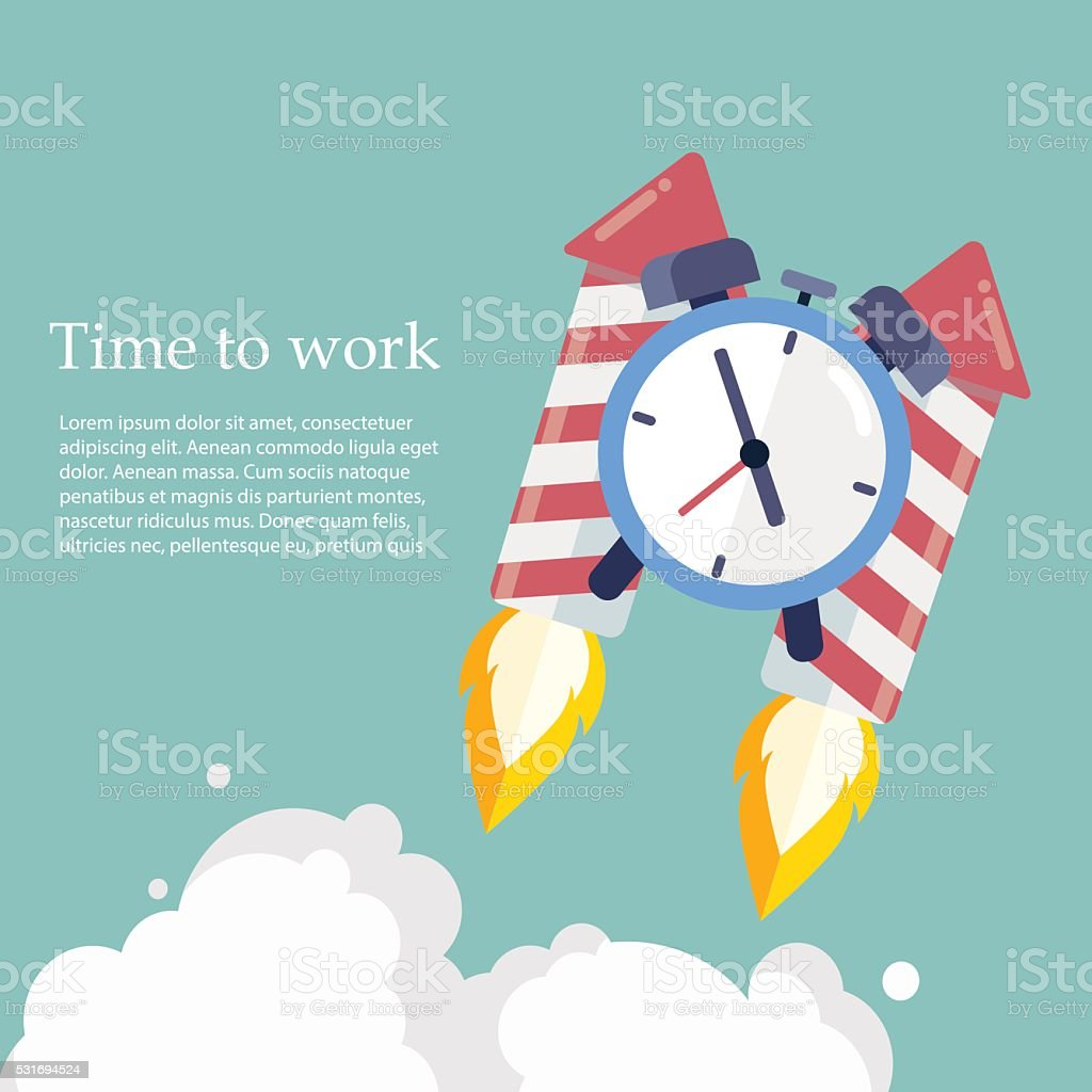 Time to work. Clock on the Rocket soaring up vector art illustration