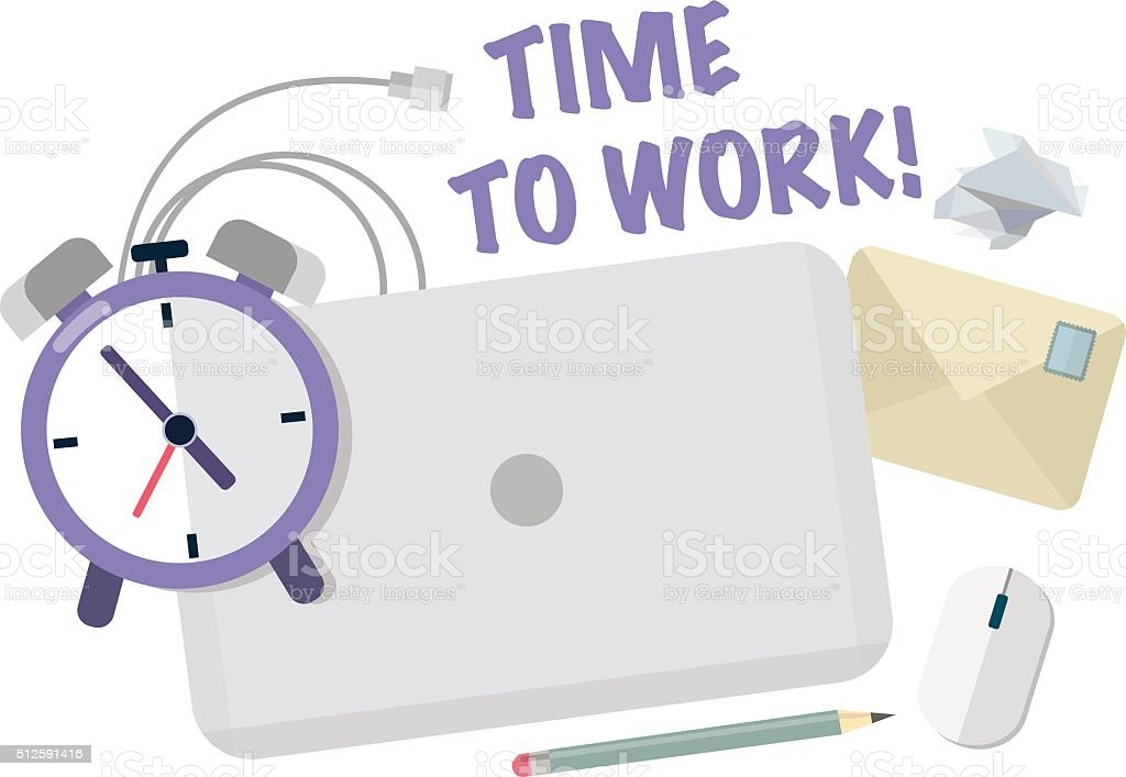 Time to work.Workplace with laptop,clock,pencil and envelope. vector art illustration