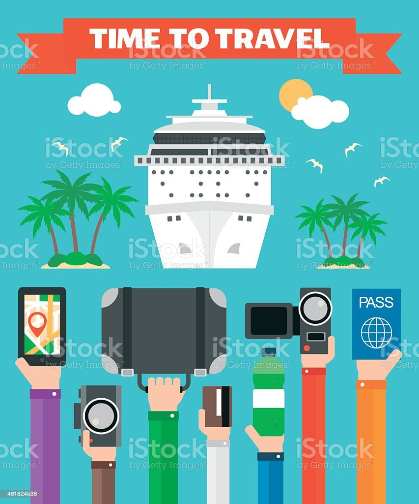 Time toTravel Flat background with hand .Modern vector vector art illustration