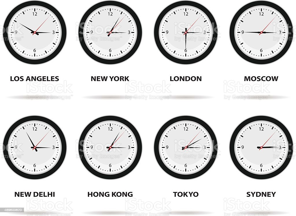 Time Zone World vector art illustration