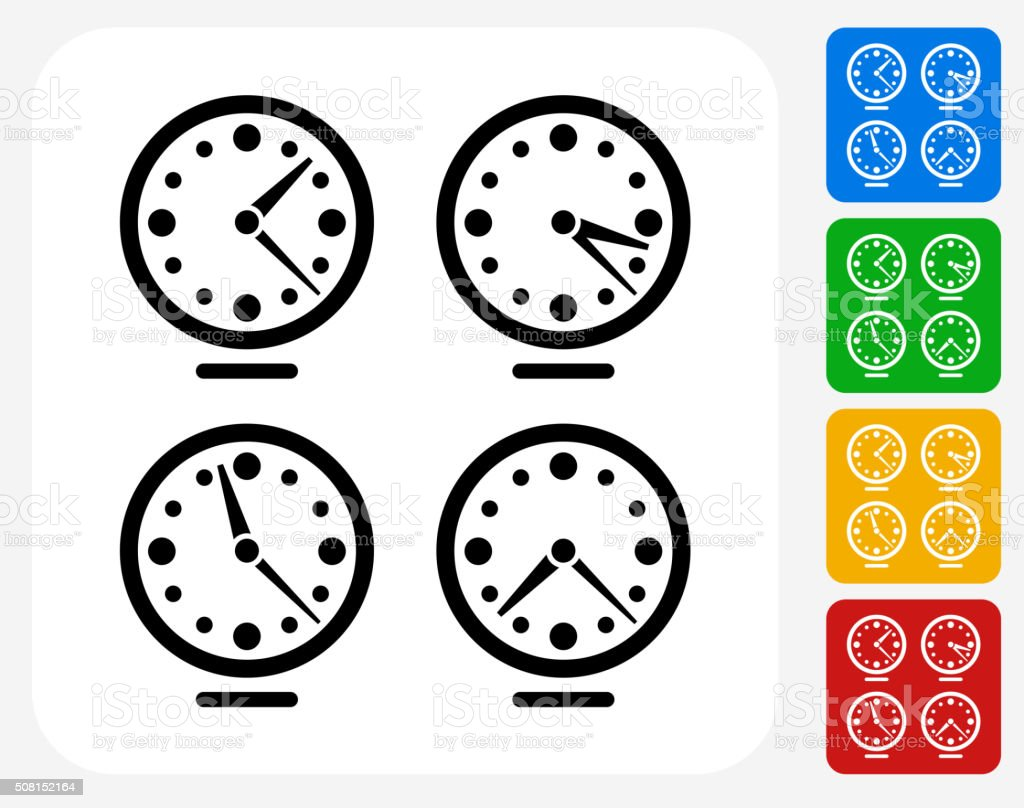 Time zones Clocks Icon Flat Graphic Design vector art illustration