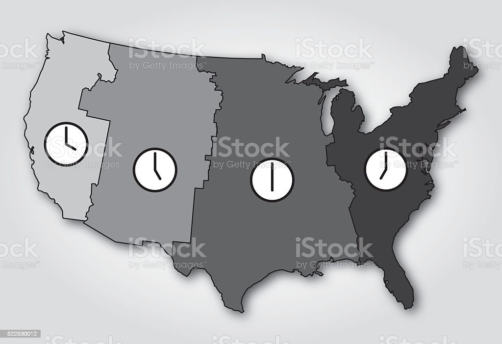 Usa Time Zones Map Black And White Stock Vector Art IStock - Us map black and white vector