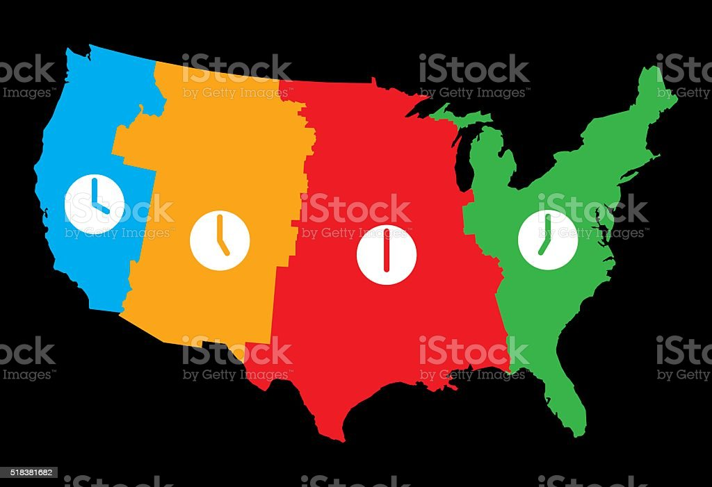 USA Time Zones Map vector art illustration