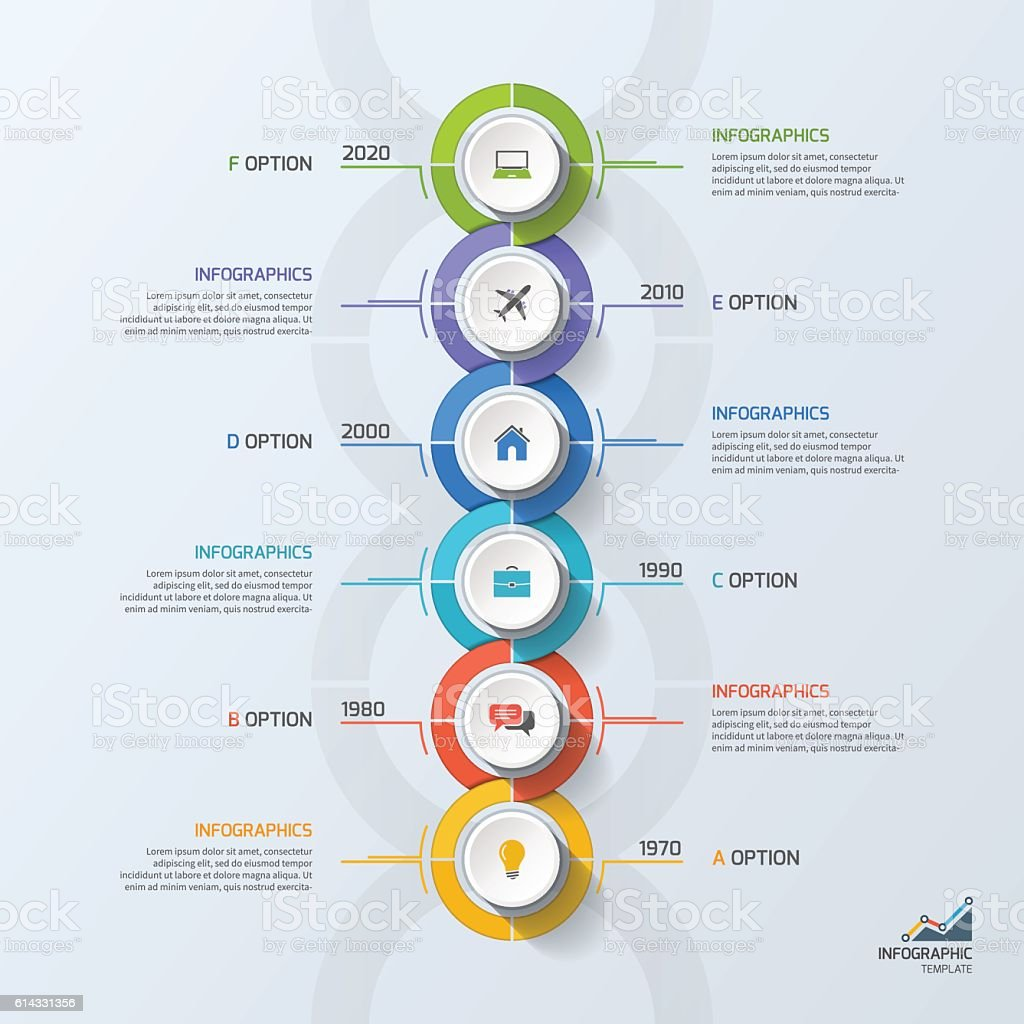 Timeline business infographic template with 6 steps, processes, vector art illustration