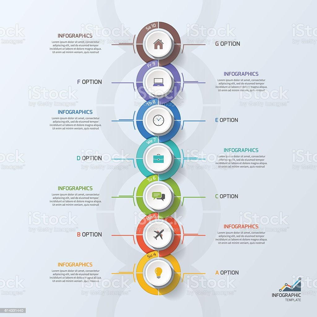 Timeline business infographic template with 7 steps, processes, vector art illustration