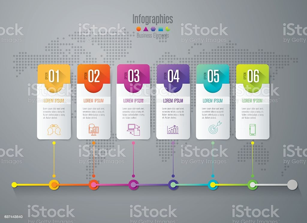 Timeline infographic design vector and business icons with 6 options. royalty-free stock vector art