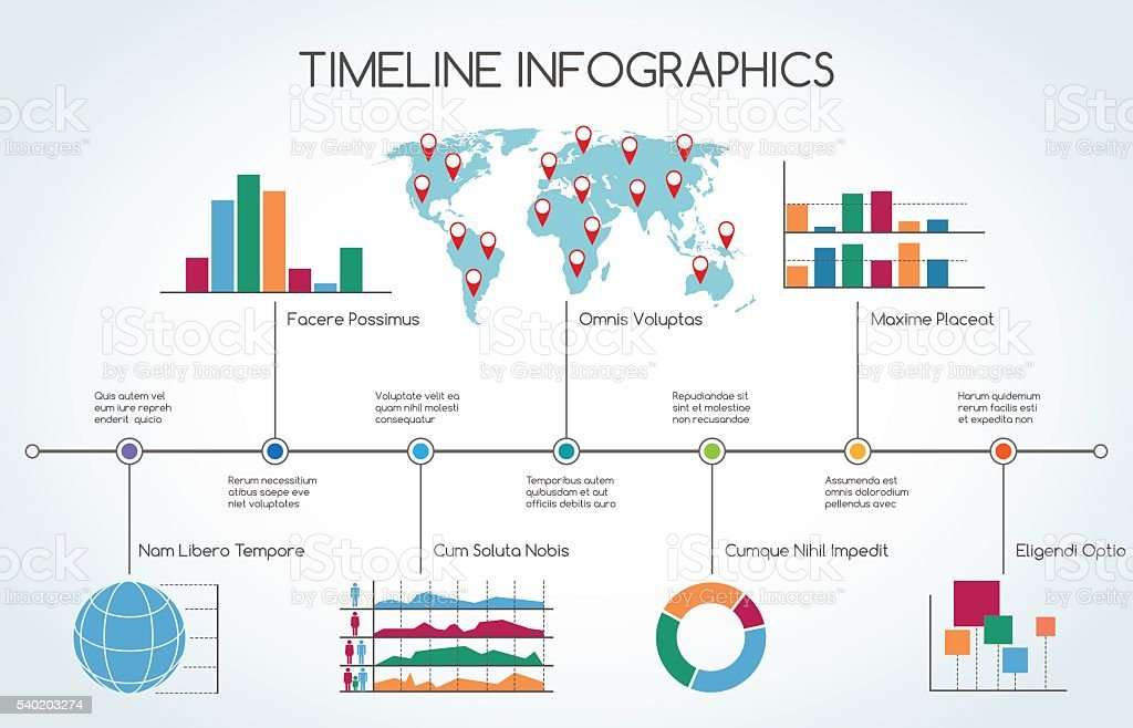 Timeline Infographic with line charts vector art illustration