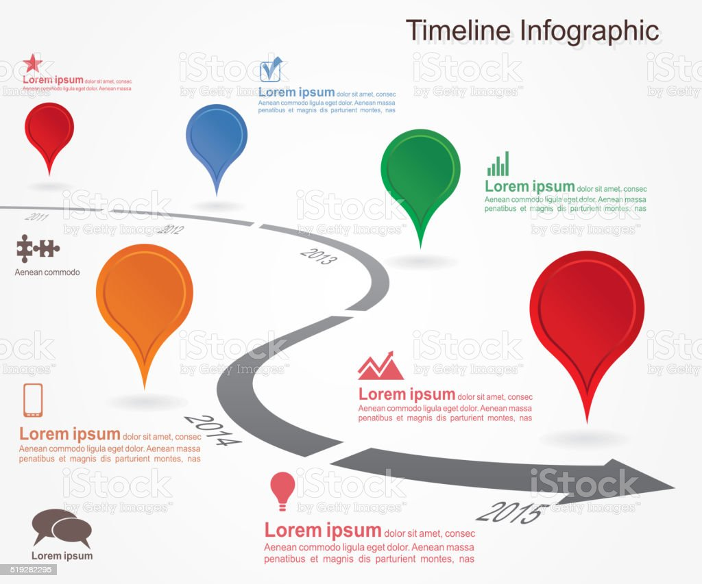 Timeline infographics with elements, icons. vector art illustration