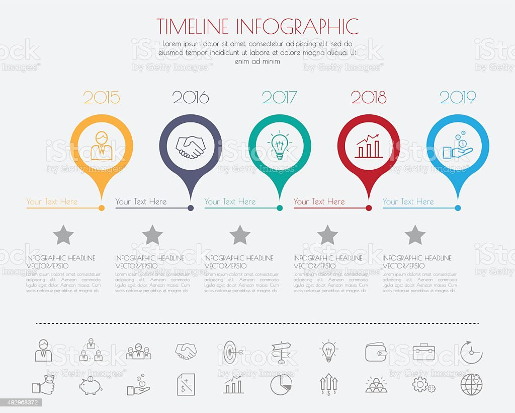 timeline infographics with icons set. vector art illustration