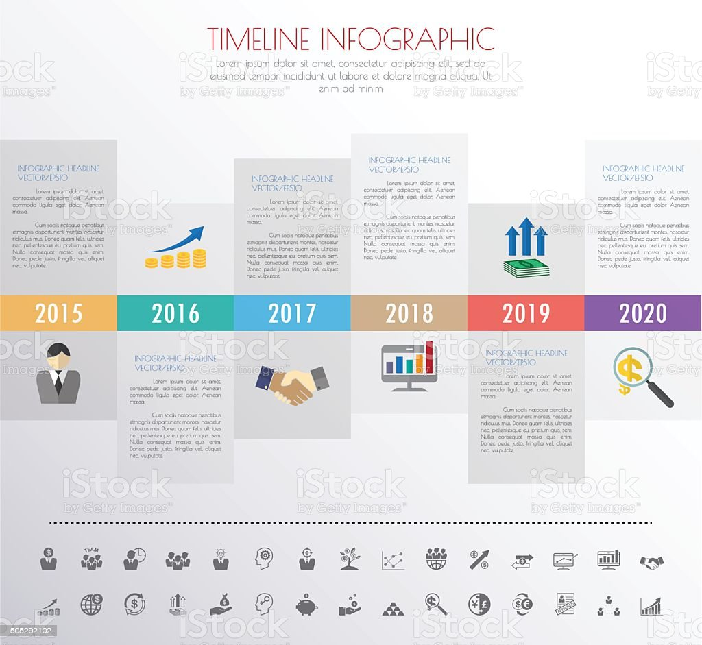 timeline infographics with icons set. vector. illustration. vector art illustration