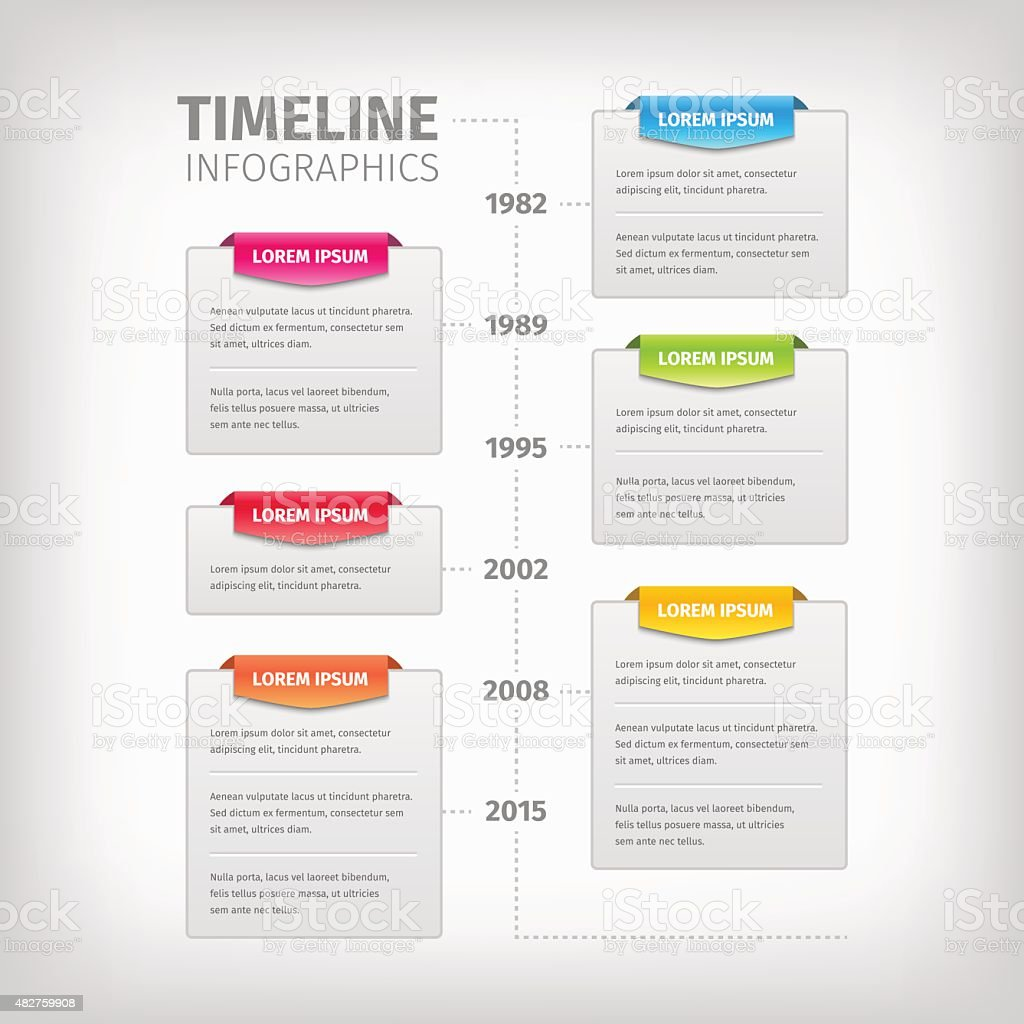 Timeline Infographics with soft gray boxes and border vector art illustration