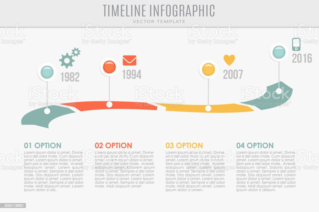 Timeline report template with buttons and icons, vector illustration vector art illustration