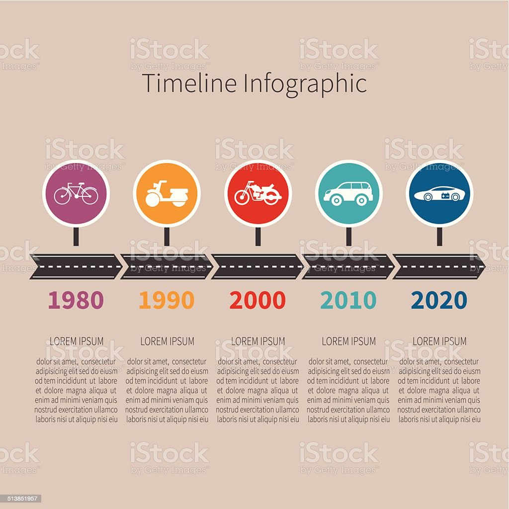 Timeline vector infographic vector art illustration