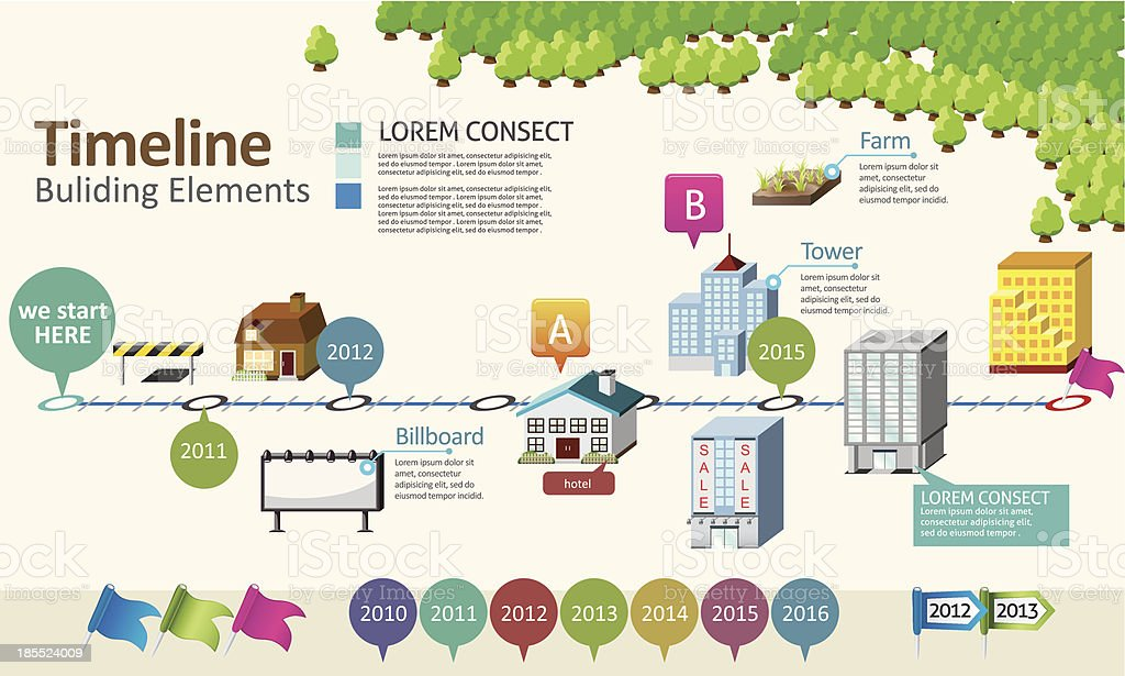 Timeline with building element royalty-free stock vector art