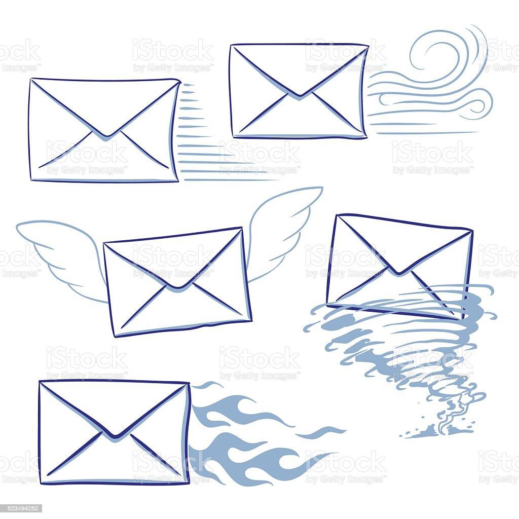 Opportun messages enveloppes stock vecteur libres de droits libre de droits
