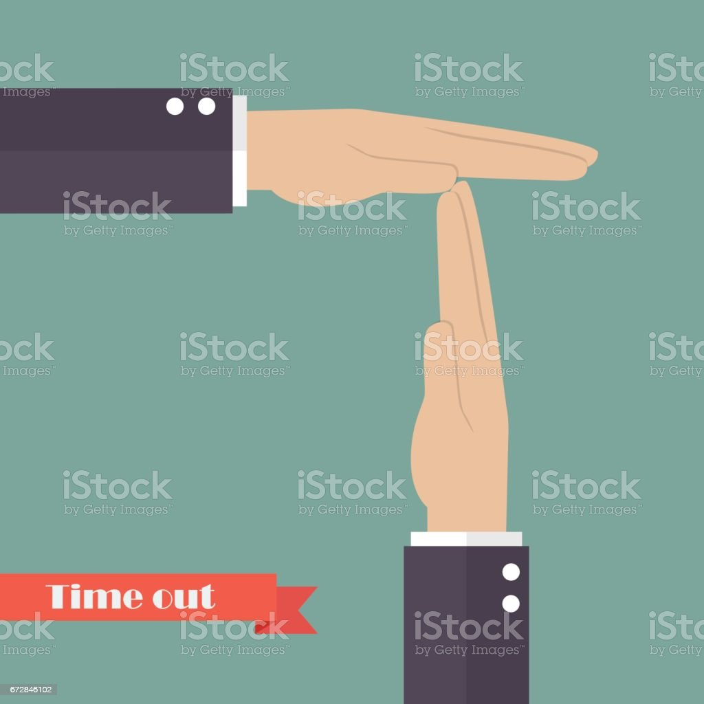 Timeout signal hand vector art illustration