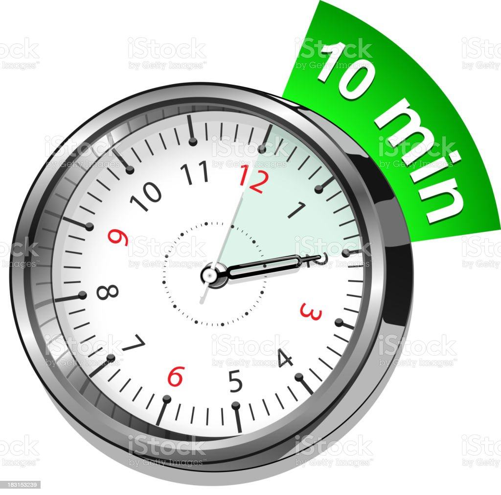 timer 10 minutes vector art illustration