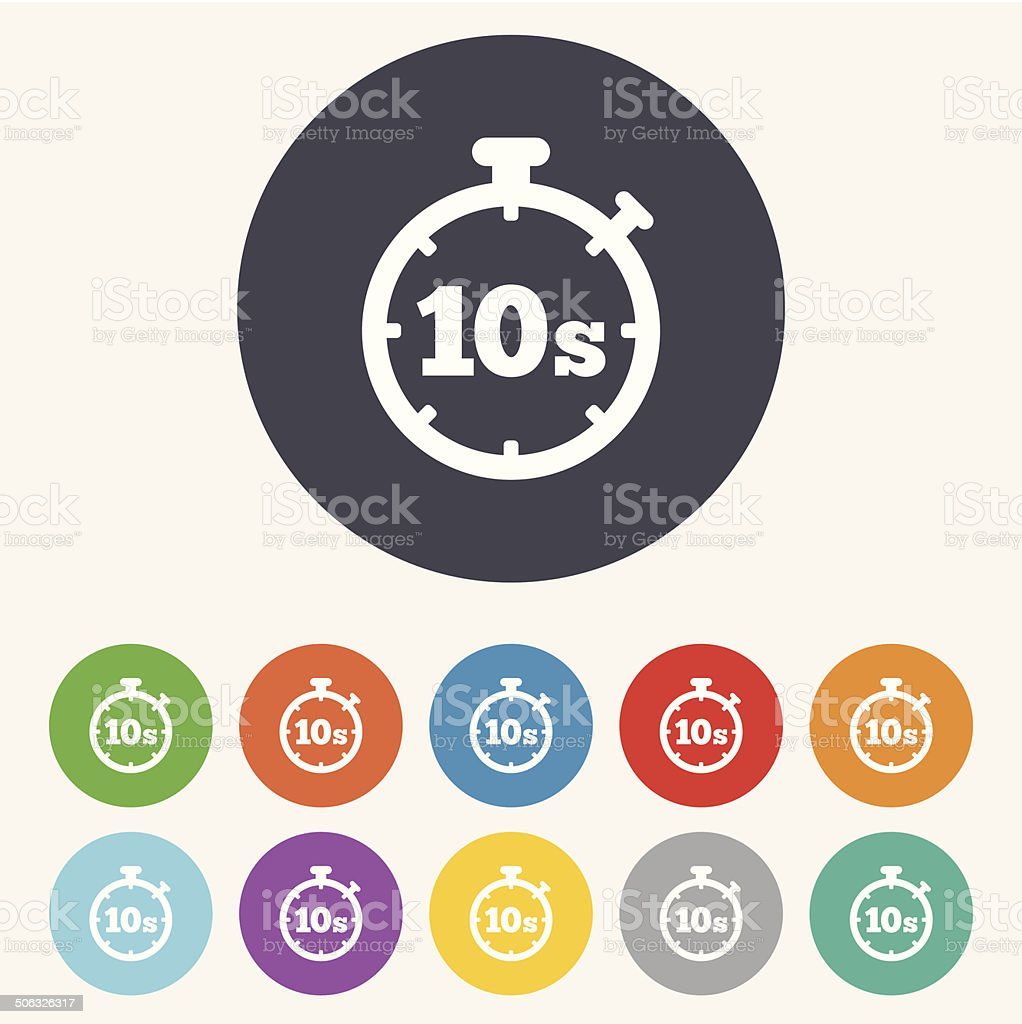 Timer 10s sign icon. Stopwatch symbol. vector art illustration