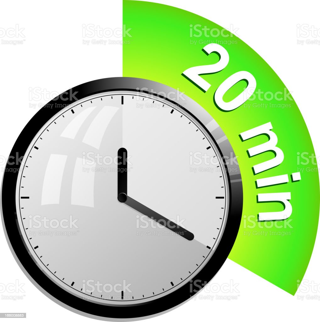 timer 20 minutes vector art illustration