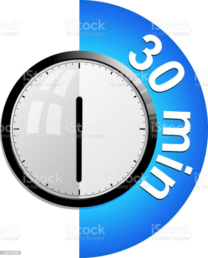 timer 30 minutes vector art illustration