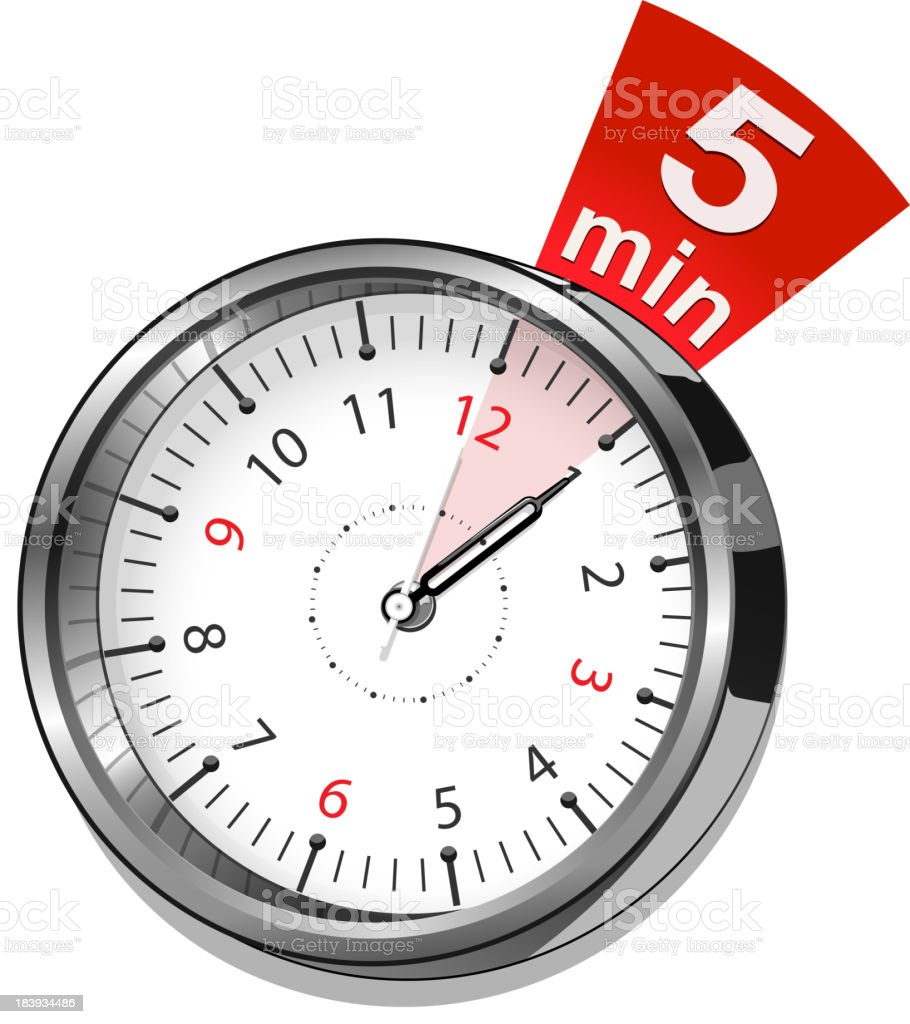 timer 5 minutes vector art illustration
