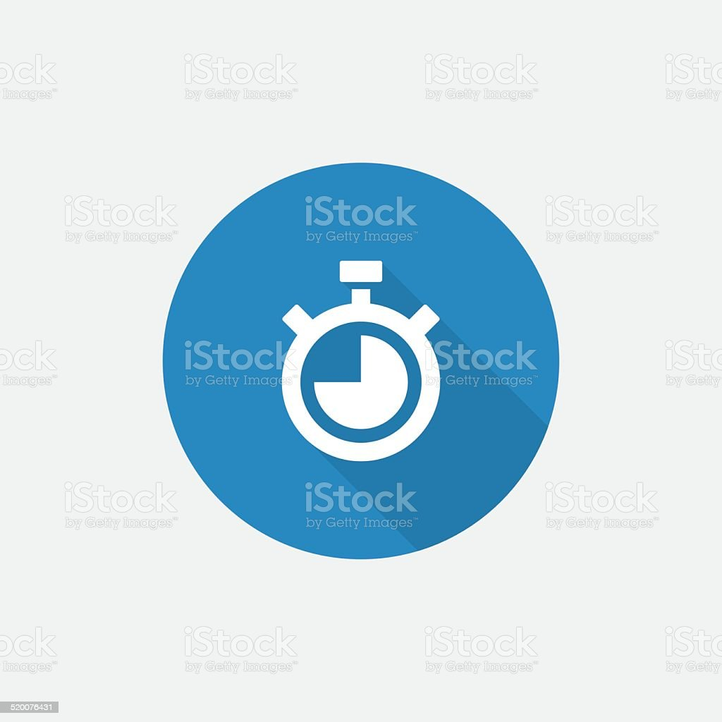 timer Flat Blue Simple Icon with long shadow vector art illustration