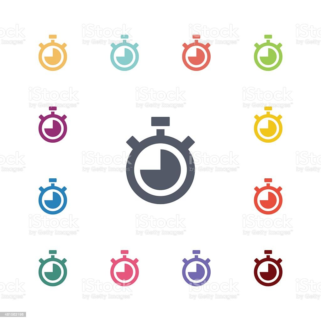 timer flat icons set vector art illustration